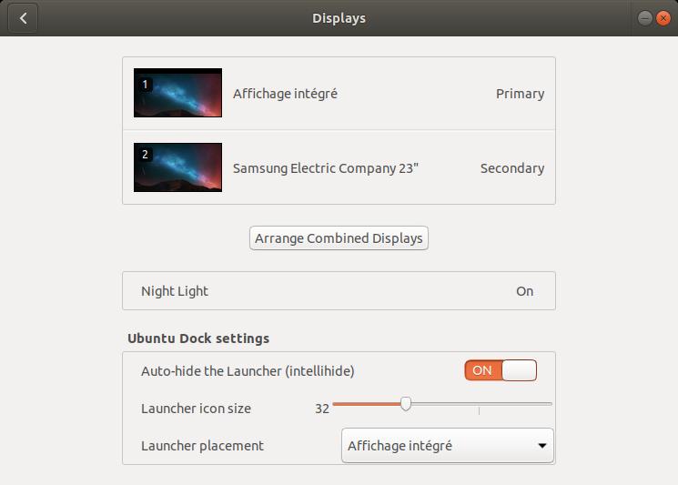 GNOME Control Center Ubuntu Dock settings